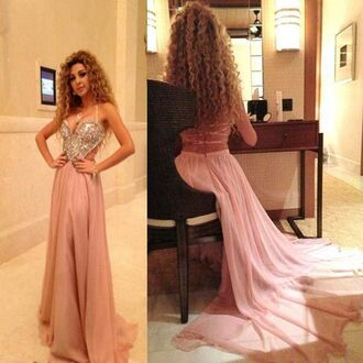 dress pink dress long prom dress prom gown cut-out dress