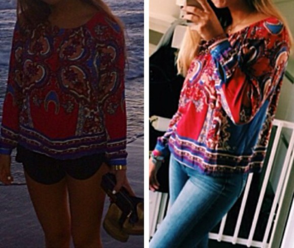 blouse ethnic red blue pattern