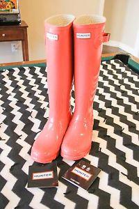 Hunter Original Tall Gloss Crimson Pink Wellington Boots Welly Pink   eBay