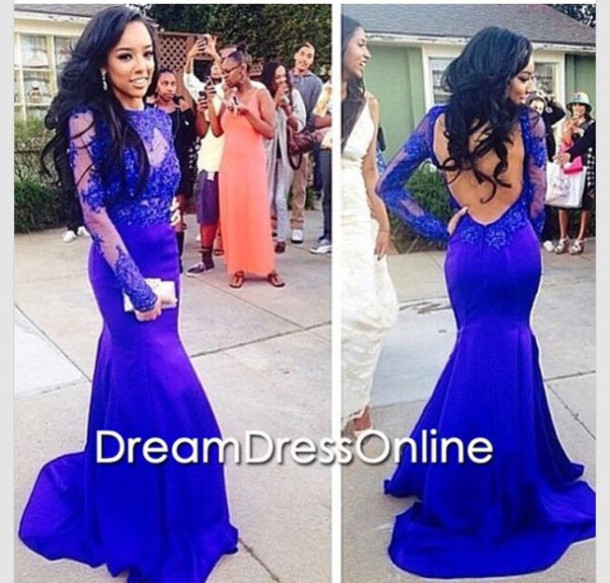 dress blue prom prom dress lace dress royal blue long sleeves