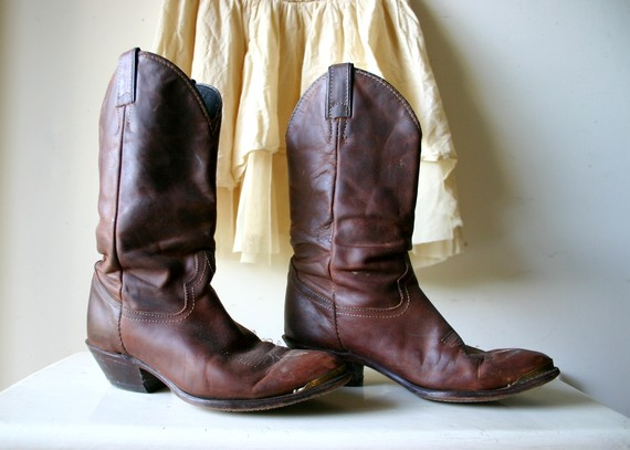Perfect patina old leather cowgirl boots by captaincat on etsy