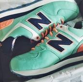 new balance,aqua,orange,suede,casual new balance,shoes