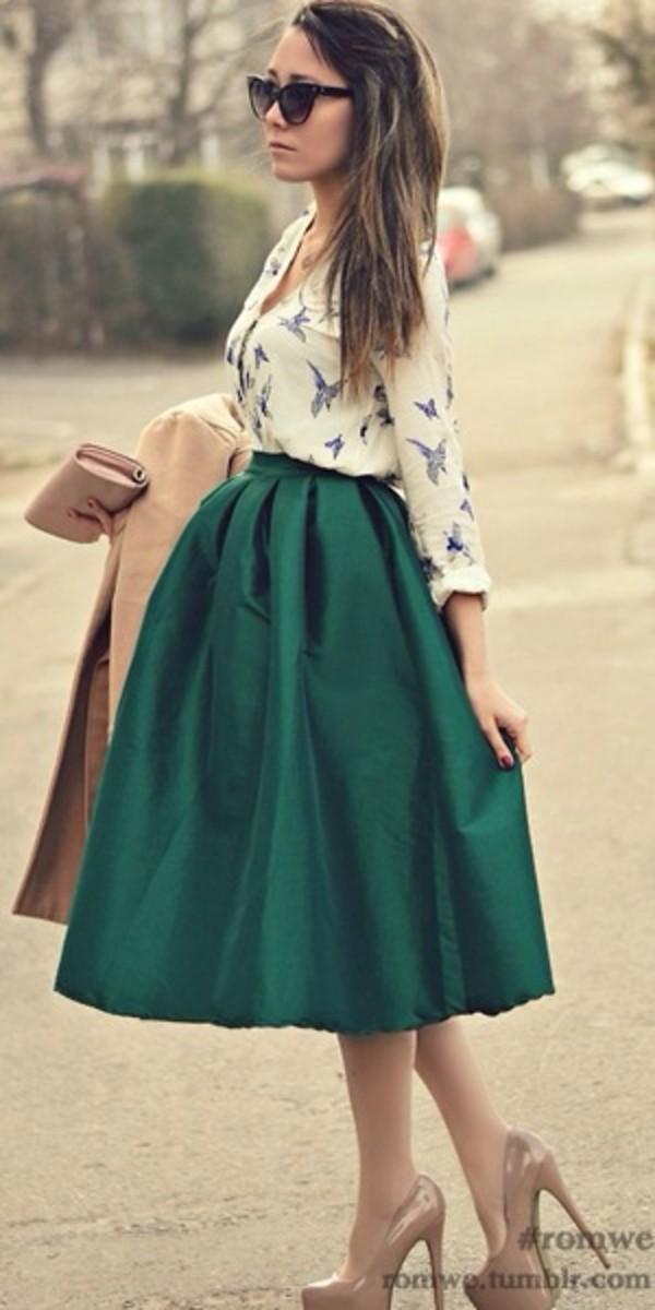 2014 High Waist women long Puff skirts american apparel neon Green ...