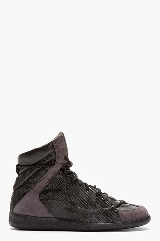 shoes mason martin margelia  woven mens shoes high top sneaker charcoal