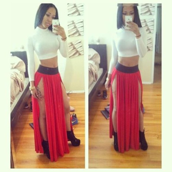 skirt maxi skirt red crop tops shoes t-shirt shirt double split skirt double slit skirt long