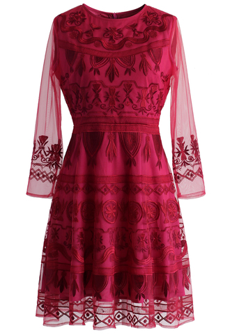 dress treasure embroidered mesh dress in ruby chicwish mesh ruby embroidered