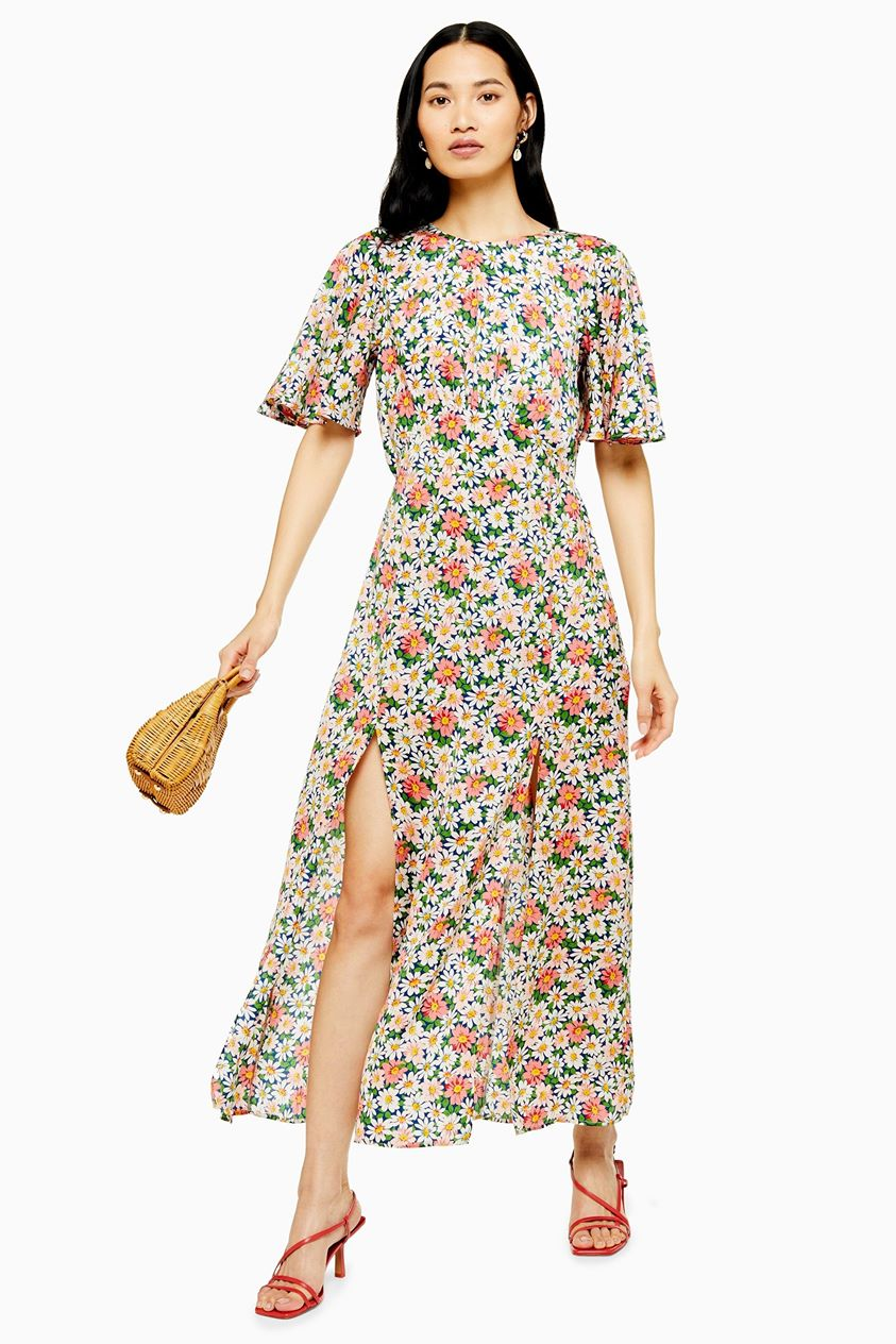 Womens Austin Floral Daisy Print Angel Sleeve Midi Dress - Blue