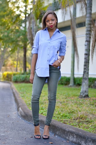 cha cha the fashion genius blogger denim shirt blue shirt