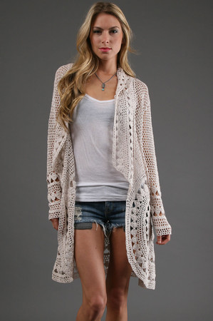 Crochet Cardigan in Shell: Buy Free People at CoutureCandy.com