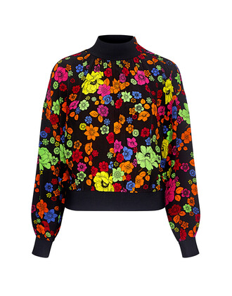 blouse high high neck floral top