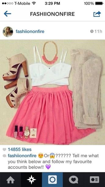 skirt blouse jewels sweater