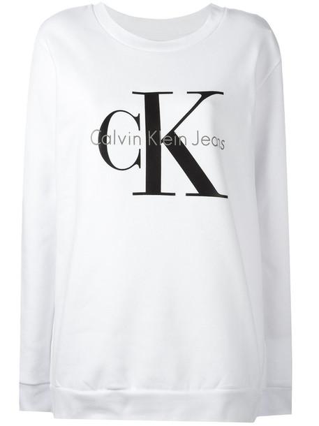 sweatshirt women white cotton print sweater