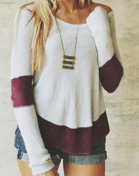 white sweater burgundy burgundy sweater denim shorts statement necklace