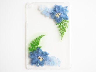 phone cover summer summer handcraft flowers pressed flowers blue blue flowers ipad case
