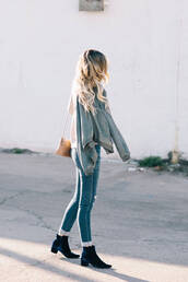 shoes,tumblr,boots,blue boots,ankle boots,velvet ankle boots,velvet,velvet boots,velvet shoes,mid heel boots,denim,jeans,blue jeans,cuffed jeans,jacket,grey jacket,bag,mini bag,ombre hair