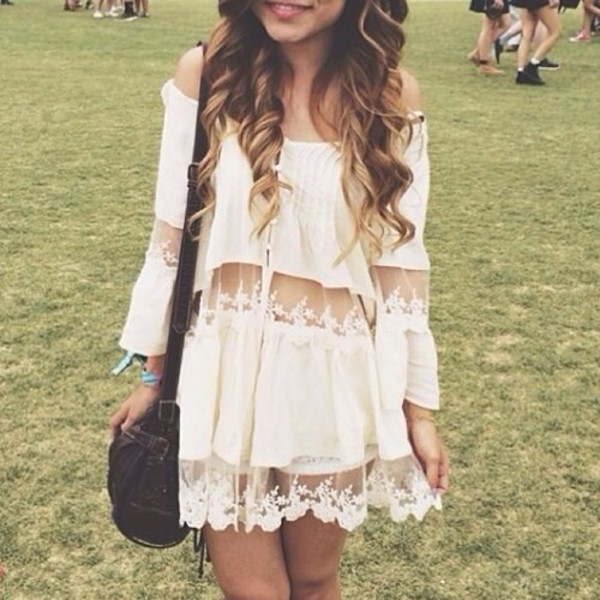 boho festival party dress white dress short dress small dress cream dress