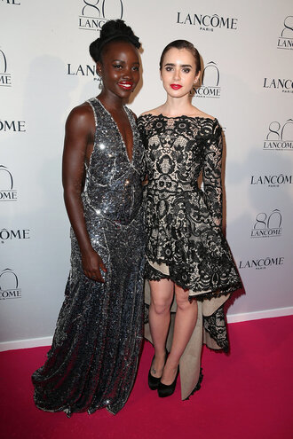 dress gown lupita nyong'o lily collins sequins sequin dress prom dress
