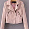 Pink oblique zipper crop pu jacket -shein(sheinside)