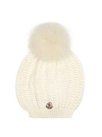 knit fur hat cream