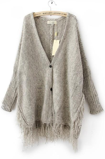 Light grey batwing long sleeve v