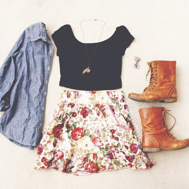 jacket denim denim jacket button up boots brown boots black crop top floral skirt floral skirt jewelry bow hair bow shoes shirt top