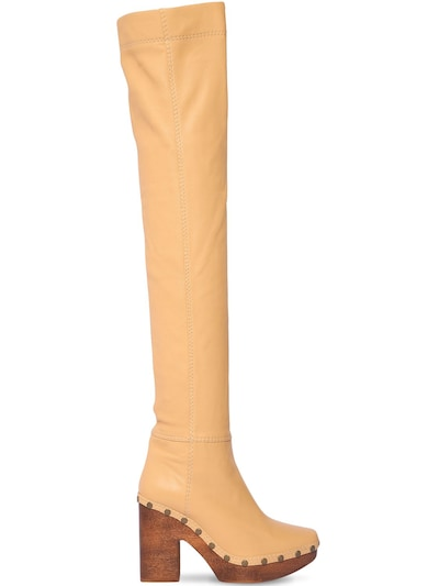 JACQUEMUS 110mm Les Bottes Sabot Leather Boots Nude