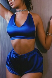 romper,girly,blue,silk,satin,two-piece,lounge wear,shorts,crop tops,crop,cropped