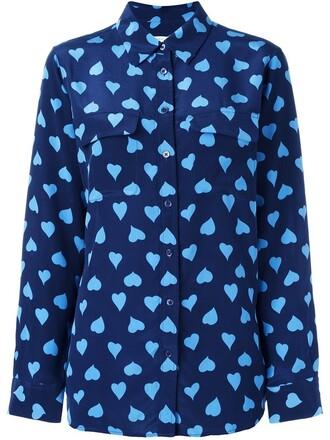 shirt heart women print blue silk top