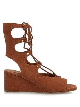 sandals wedge sandals lace tan shoes
