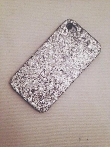bag iphone cover iphone case iphone 4 case glitter silver glitter glitter