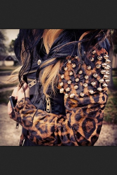 jacket leather jacket gold studs spikes leopard print