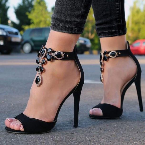 Shoes Sandals Black Diamonds High Heels Stilettos
