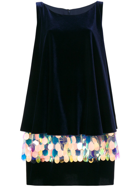 Talbot Runhof dress women spandex layered blue