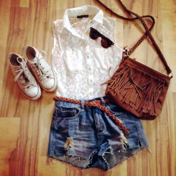 shorts bag converse summer outfits lace dress sunglasses shirt