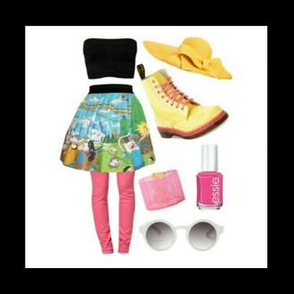 skirt adventure time skirt adventure time black crop top pink leggings tumblr skirt high waisted skirt tumblr outfit