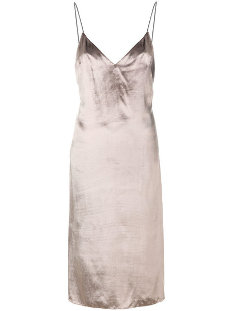 dress shift dress metallic women silk brown