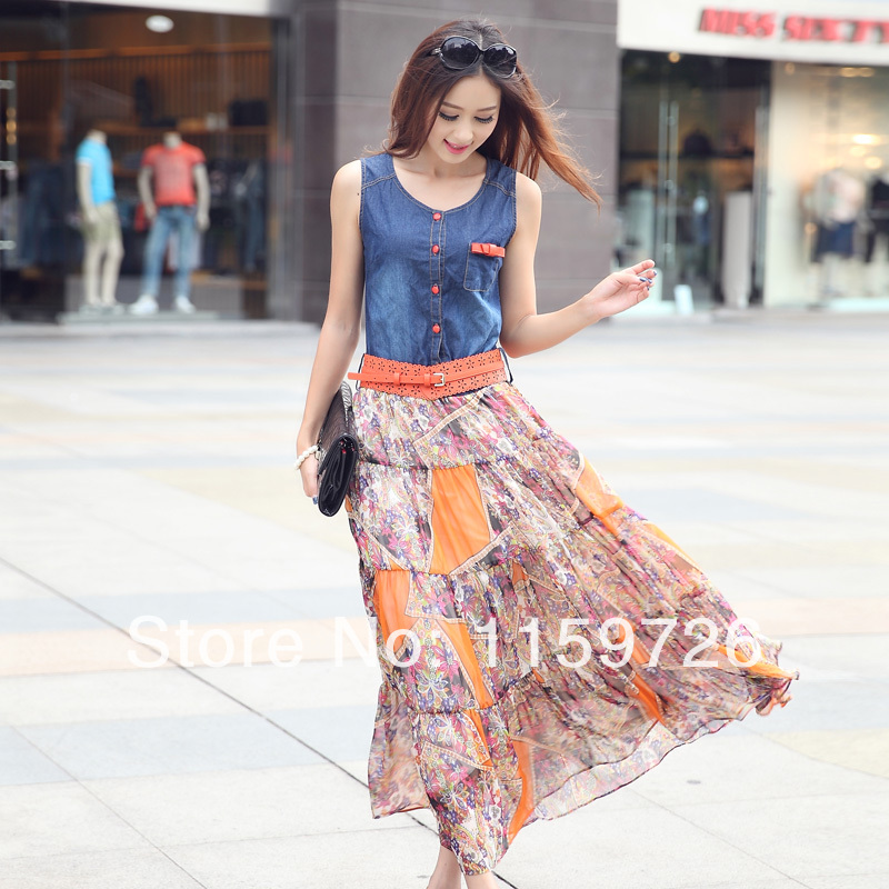 Best Value Free Shipping Fashion Denim Chiffon Floral loog dress vest bohemia dresses Beautiful belt 2014 New-inDresses from Apparel & Accessories on Aliexpress.com