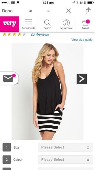 skirt black and white stipes mini skirt
