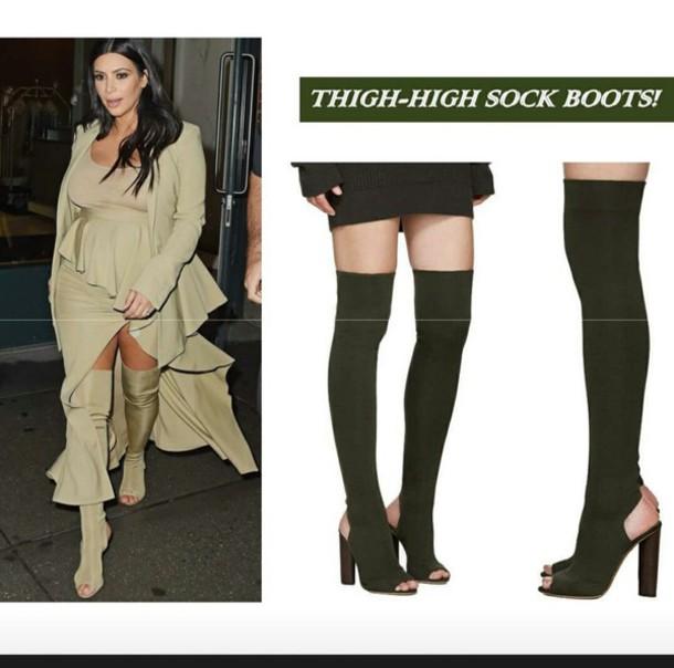 shoes thigh high boots kim kardashian knee high boots