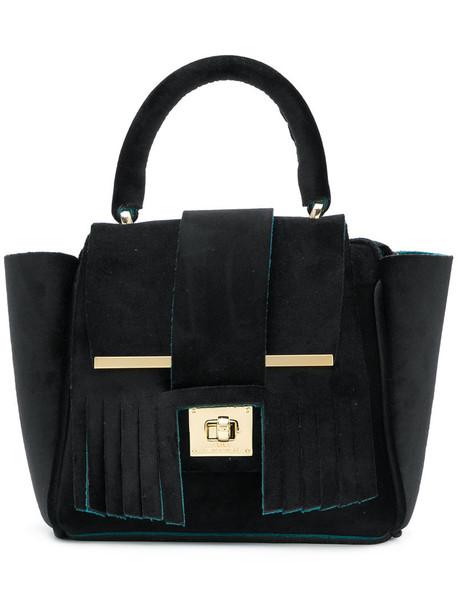 mini women bag tote bag black velvet neoprene