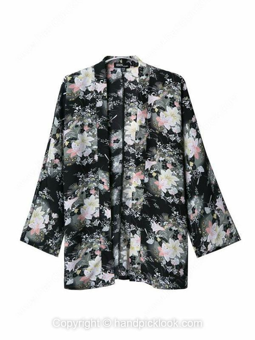 Black Lapel Long Sleeve Floral Print Coat - HandpickLook.com