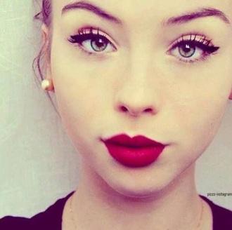 make-up red lipstick beautiful matte red lipstick lips