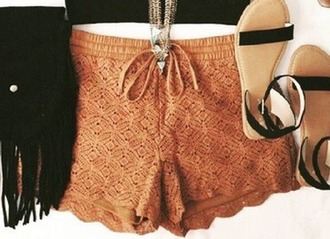 shorts lace shorts beige brown brown shorts beige shorts soft shorts perforated comfy