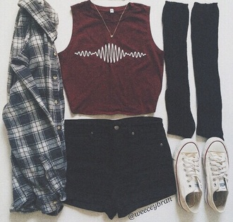 shirt soundwave burgundy crop tops shoes red shirt music red arctic monkeys grunge tumblr hipster converse flannel shirt urban white burgundy top pants shorts high waisted shorts black summer miami florida clothes style