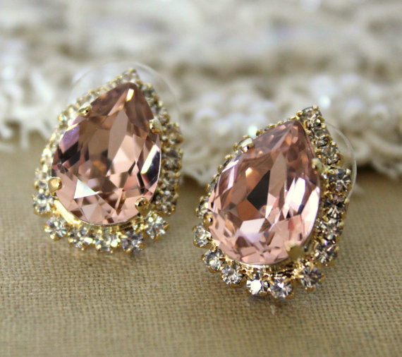 Swarovski Vintage Pink Stud Ohrringe Brautjungfern von iloniti