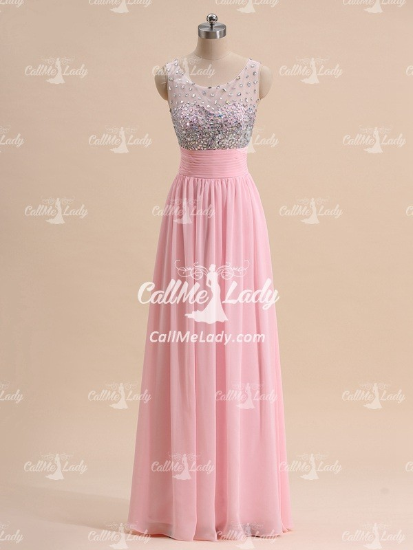 Pink rhinestones high neck chiffon long prom dress/ formal dresses - CallMeLady