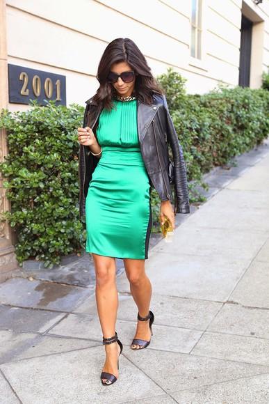 green dress jacket bag this time tomorrow blogger