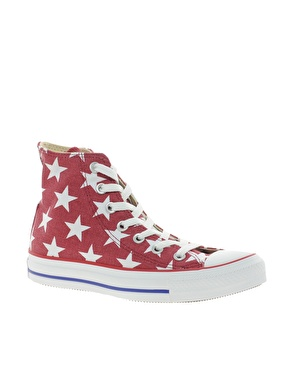 Converse | Converse All Star Red Star Print High Top Trainers at ASOS