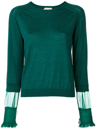 jumper women silk wool green sweater