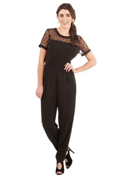jumpsuit romper jumper sweater dress jumpersuit black see through polka dots